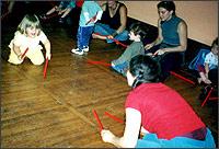 Heartsong kids class photo drum sticks